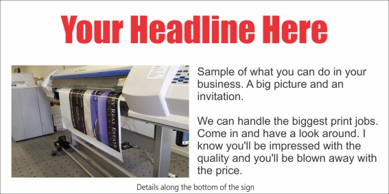 Promotional Signs: 2400 x 1200mm Generic Promo Sign