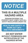 Multiple Hazard Sign 450 X 300mm
